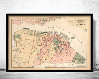 Vintage Map of Halifax Nova Scotia Canada 1878