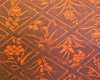 "SILK Kimono Fabric Vintage Japanese Silk Crepe Fabric from Unused Bolt Kimono Fabric Black Red Diamond Flowers Japanese Silk 14"" W 36""L"