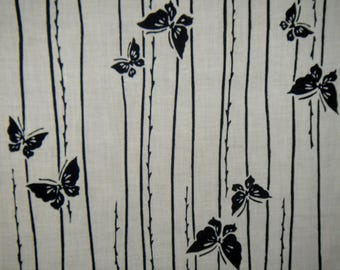 "Reserved FABRIC Vintage Japanese Cotton Indigo Yukata Fabric Navy and White Butterflies Budding Branch Yukata Fabric 13.5""W X 3 Yd"