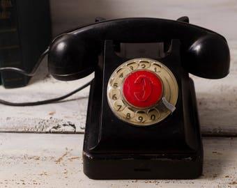 phone retro black rotary phone vintage industrial phone bakelite retro dial phone retro home black decor desk phone