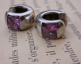 vintage  sterling silver diamond CZ gemstone amethyste earrings