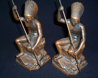 """Rare Jennings Brothers Antique """" Indian Spear Fishing """" JB 2245 Native American Bookends Circa 1925 Bronze Finish"""