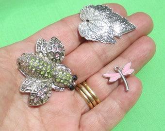 Retro Rhinestone Bumble Bee Pink Dragonfly Metal Leave Pendants