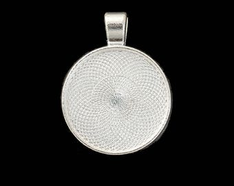 "5 Silver Plated Round Blanks Bezels 25mm 1"" Pendant Blanks"