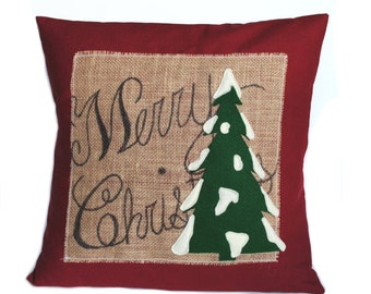 One 'Merry Christmas' tree Pillow cover, 18x18, holiday pillow, decorative pillow, cushion, Christmas decoration