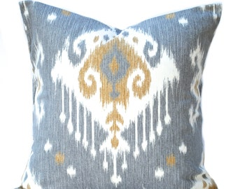 One ikat pillow cover,  Home decor, decorative pillow, throw pillow, Tan Pillow,  Grey  pillow