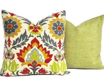 """2 outdoor pillow covers, Floral Pillow,  Santa Maria, decorative pillow, throw pillow, Green Pillow, Red Pillow, 14"""", 16"""", 18"""", 20"""""""
