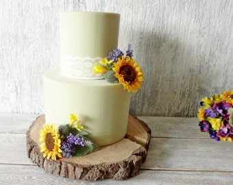 Sunflower cake toppers Rustic Wedding flowers artificial decorations two tier cake