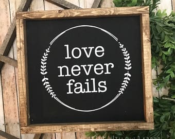 Love Never Fails | Wedding Decor | Rustic Wedding | 1 Corinthians 13 | Love Never Fails Sign