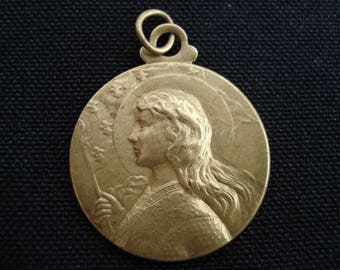 Religious antique French vermeil medal pendant of Saint Jeanne d'Arc Joan of Arc with sword. ( 16 )