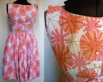 Vintage Starburst Pink & Coral Candy Jrs. Day Dress Size Small