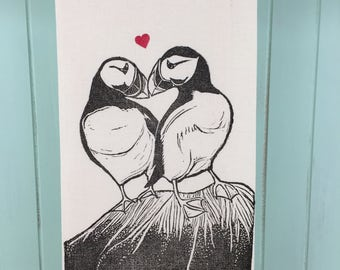 Puffin Love, block printed tea towel