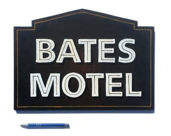 Psycho Bates Motel hand painted sign