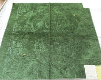 """Scalamandre Embossed Velvet Sample in Evergreen RICHELEAU Luxury Fabric Remnant Linen & Cotton 25.5"""" x 26.5"""" Green"""