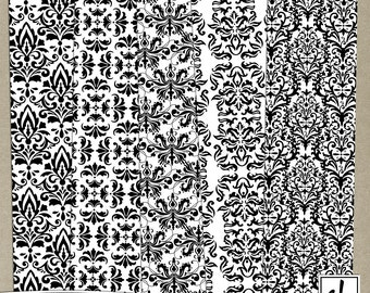 Digital Paper - Pattern Overlays - Digital Patterns - Damask Overlays - Damask Patterns - Damask Paper - Instant Download - CU OK