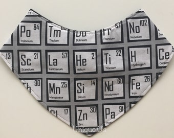 Geeky baby bandana bib, periodic table, STEM gifts, ready to ship! Scientific theme, nerdy baby bib, chemistry baby gift, primary colors