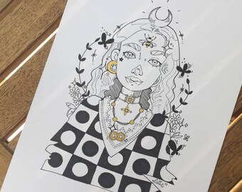 Custom Portrait Order ~ Black & White inked on paper (a4)