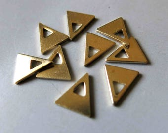 100pcs Raw Brass Triangle Charms, Pendants 10.5mmx9mm - F524