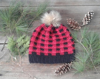 Plaid crochet slouchy beanie hat with Faux fur pompom