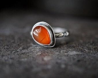 Carnelian Teardrop Ring , Size 7.5 , Sterling Stacker , Orange Gemstone Ring , Patterned Silver Band ,  Carnelian Jewelry