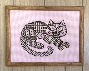 """Blackwork """"Cat Nap"""" Framed Embroidery"""