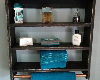 Distressed Ebony Shelf with Towel Rack