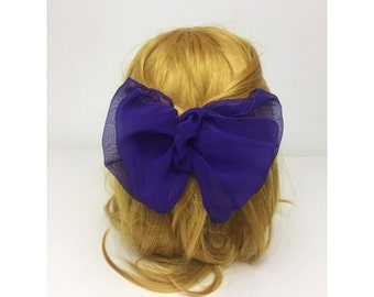90's Purple Statement Hair Bow French clip - Vintage Giant Bow Clip Neon Sheer Purple French Clip - Hipster Nineties Hair Accessory Women