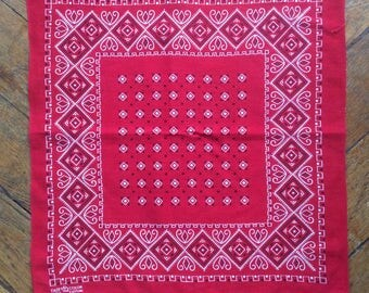 Bandana rouge vintage 50s Elephant trunk up fast color made in USA 1950s Elephant brand mouchoir rouge 100% coton bandana elephant