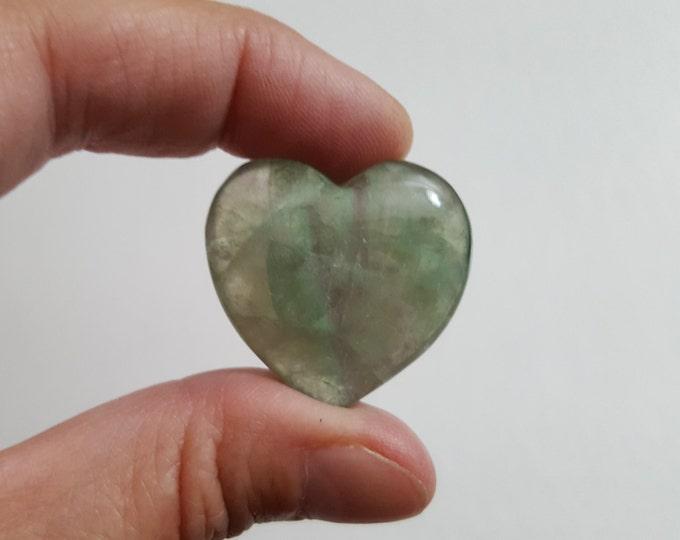Rainbow Fluorite Heart ~ One 29x30mm Reiki infused gemstone heart (FLH05)