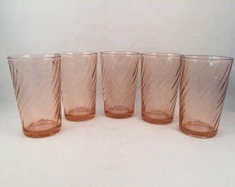 Set of 5 Arcoroc Pink Swirl Glasses, Pink Glass Swirl, Vintage Pink Arcoroc Swirl Glasses, Arcoroc Glassware, 8 oz.