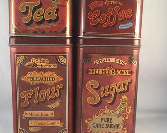 Set of Vintage Tin Canisters, Dated 1978/1979, Flour, Sugar, Coffee, Tea, Great Condition, Chein Industries, Retro Tin Canister Set