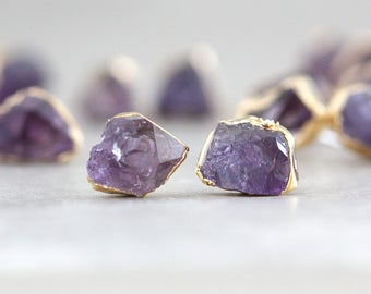 amethyst studs / raw amethyst earrings / druzy earrings / druzy studs / tiny studs / mineral studs / february studs / birthstone studs