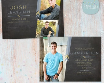 Guys Senior Graduation Card - Photoshop Template - AG010 - INSTANT DOWNLOAD