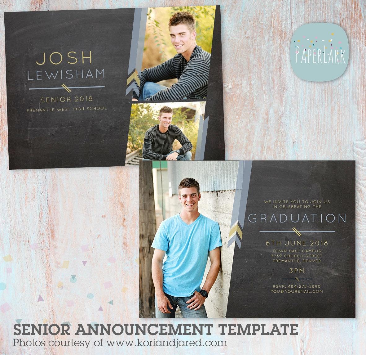 Guys Senior Graduation Card Photoshop Template AG010