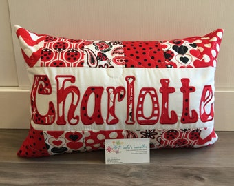 Personalized Ladybug love bug Pillow Case, 12x18 inches
