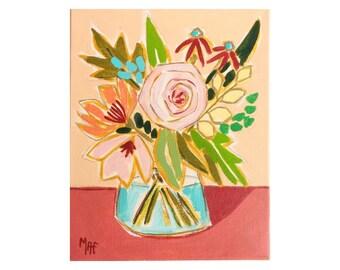 Bodegón de flores, pintura de flores de un artista, flores de Calpe, MAF pinturas, decoración de la pared de flor, flor del arte