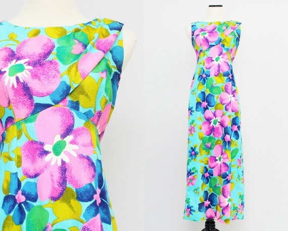 Hawaiian Togs Floral Maxi Dress - Size Small Vintage 1970s Turquoise and Purple Floral Long Dress