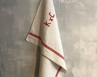 Large handmade embroidered dishcloth, monogramm KC , white & red