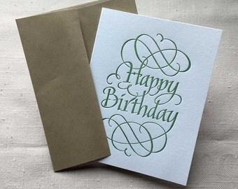 Letterpressed Calligraphic Happy Birthday Greeting Card