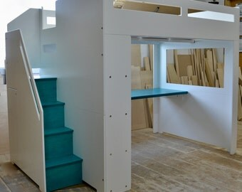 Modern loft bed with storage for FULL size mattress