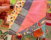 Zipper Pouch Kit #5 Pink and Feedsacks!  / or Finished Pouch