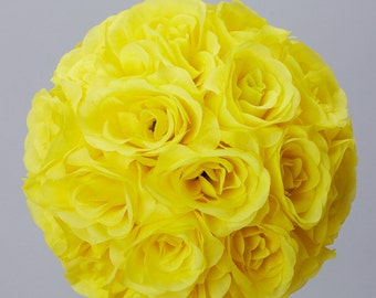 Silk kissing pomander flower ball YELLOW