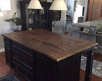 Kitchen Island Counter top, salvaged reclaimed wood, custom made