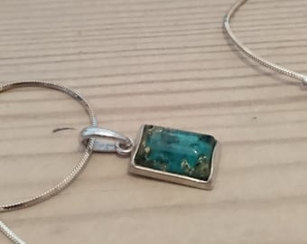 Vintage sterling silver and murano glass square pendant and chain
