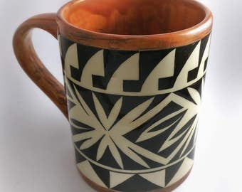 Hand painted 15 oz Cochiti Pueblo Ceramic Mug by Jeff Suina