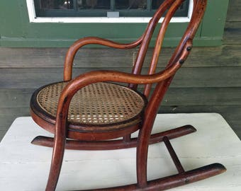 Antique Childs Bent Wood Rocking Chair, Cane Seat, Unique Baby Gift, Childs Room, Country Home, Cottage Style, Interior Design,Child Gift, R