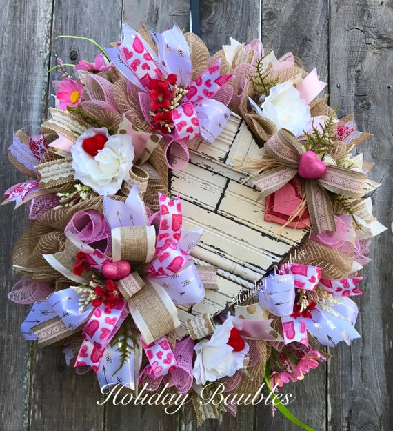 Valentine's Wreath Heart Wreath Rustic Heart Shabby
