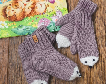 Knit Socks and Mittens for Toddler / 7-13 US Size / Handmade Hedgehog Socks and Mittens / Coffee Knit socks and mittens /