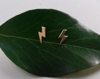 Tiny lightening bolt matte gold stud earrings