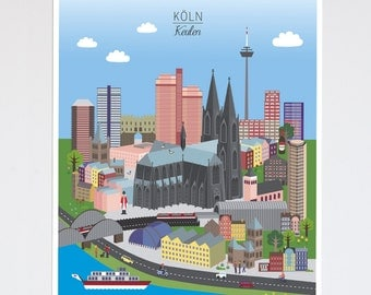Cologne City poster | customizable A3 print